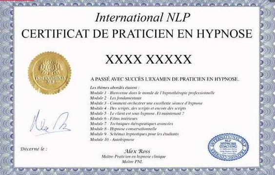 certificat praticien hypnose